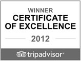 Tripadvisor 2012 Certificate of Excellence Winner