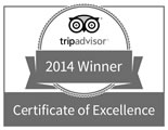 Tripadvisor 2014 Certificate of Excellence Winner